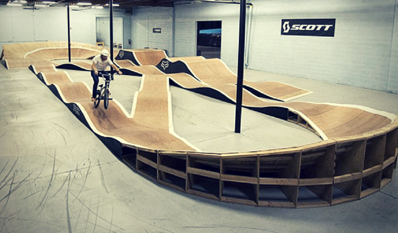 A pump track for BMX training.
