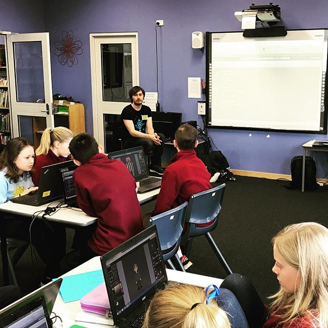 Today Aaron and James are hanging out with a bunch of cool kids from Riverside Primary School. We're running a series of workshops about designing games using visual programming in Stencyl. #batteryshed #qvmag