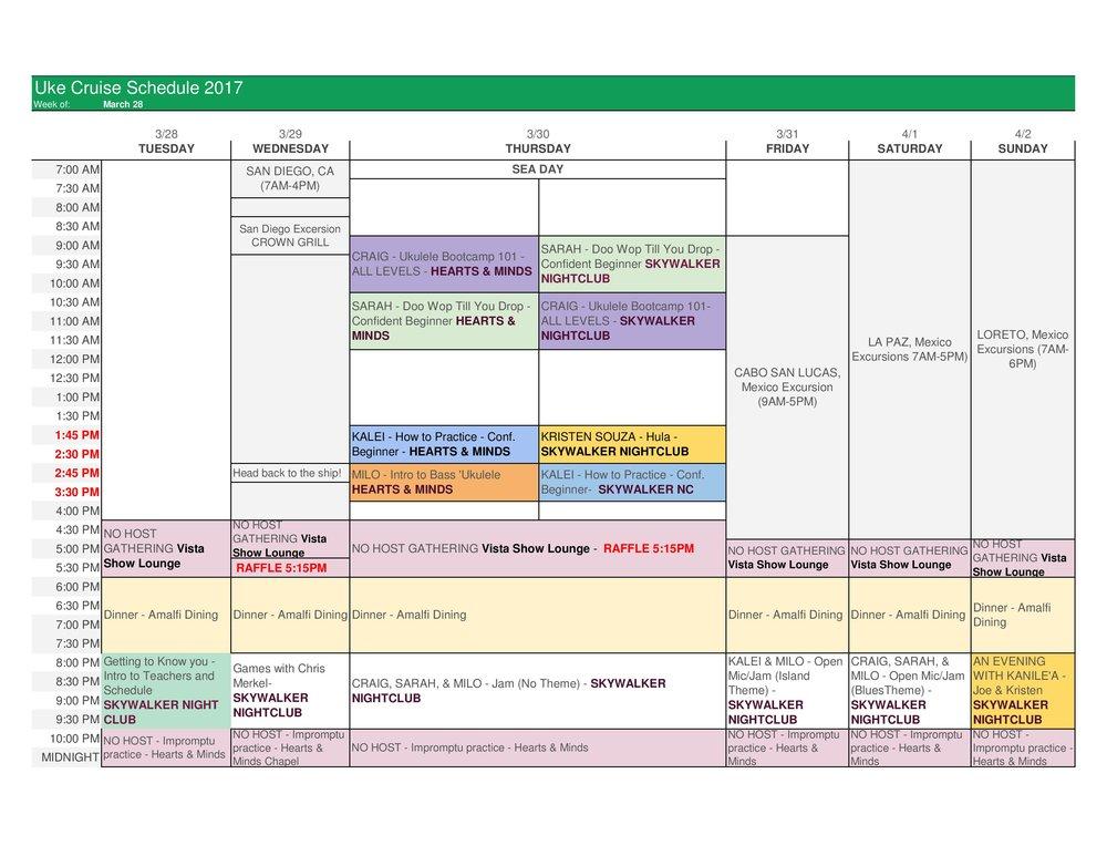 2017 Uke Cruise Schedule