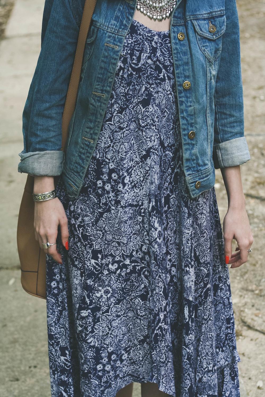 Dress- Forever 21 Jacket- Kohls Bracelet- Thrifted Boots- Sam Edelman Bucket bag- Old Navy Necklace- Forever 21