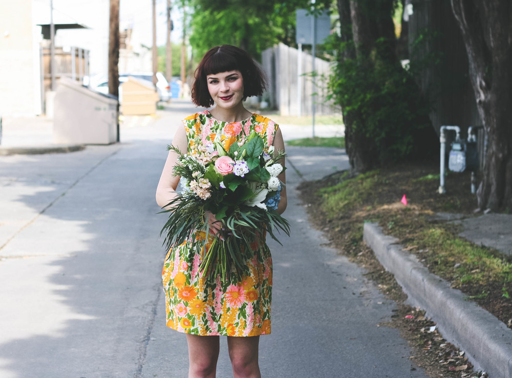 Dress- Vintage, Buffalo Exchange Boots- Old Navy Flowers- Cebolla Fine Flowers   Photographs by Morgan Williams