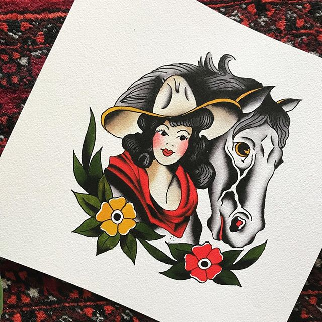 Me circa 2006 aka Kathryn Cowgirl💁🏻‍♀️ One of my very favorite Sailor Jerry designs! I am painting this design on a wooden cutout for @sailorjerry that'll be in one of their exhibits 🖤 #sailorjerry