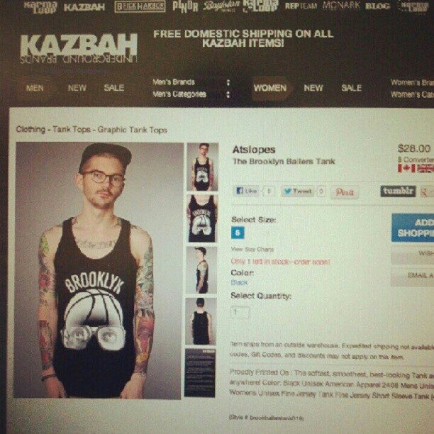 Only #1 #brooklyn #ballers #tank in stock http://bit.ly/atslopeskarmaloop #karmaloop #clothing (Taken with Instagram)