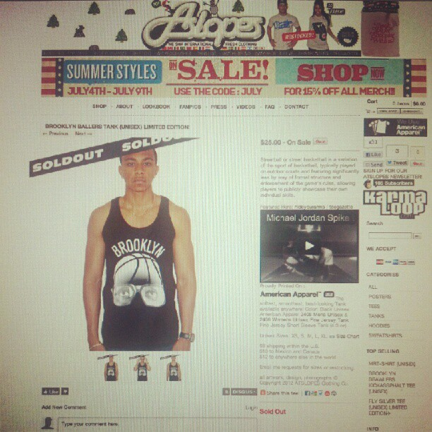 Special #thanks to kyle for modeling #brooklyn #ballers tanks now #soldout  (Taken with  Instagram )