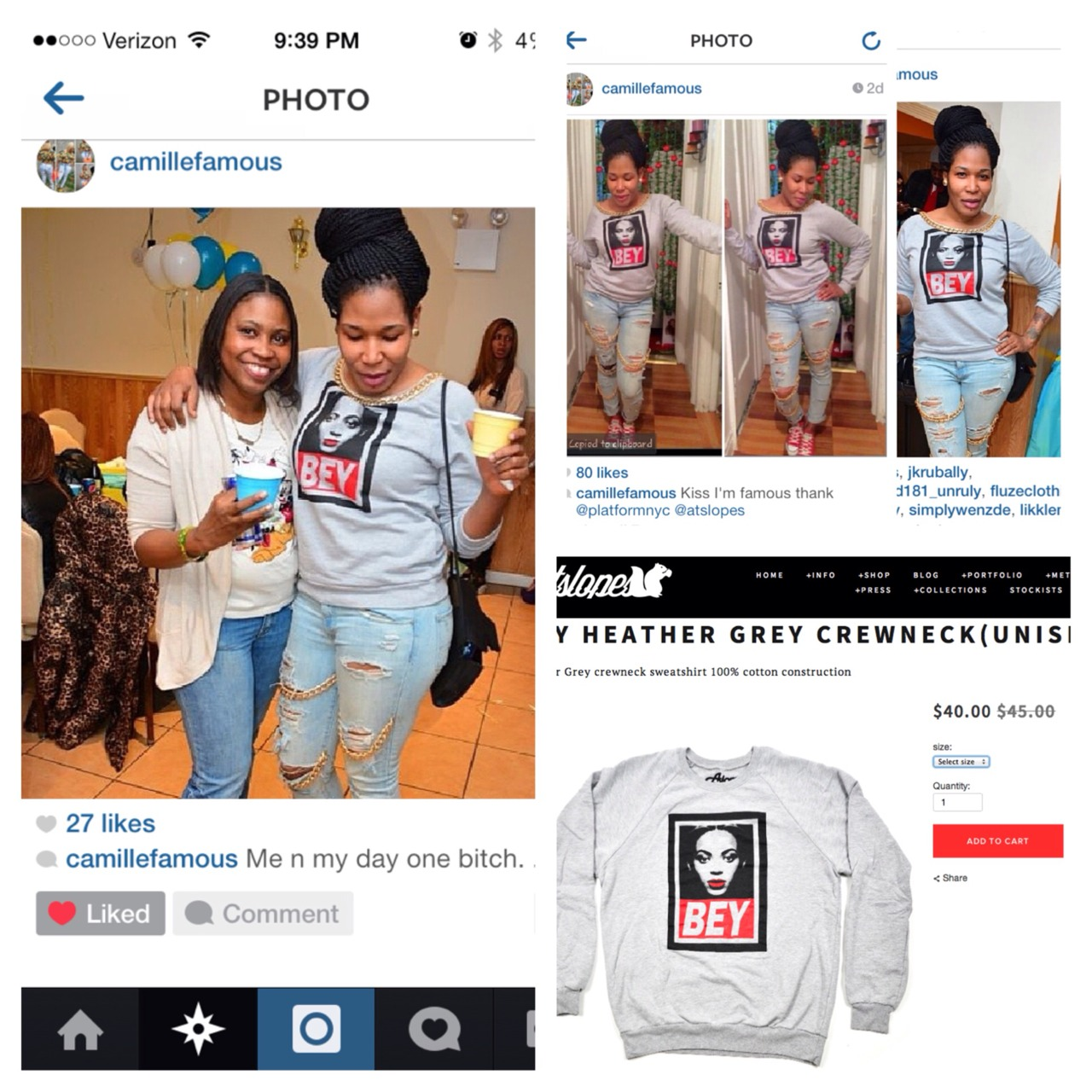 Bey sweater worn by Camille from Platformnyc check out there store in the Bronx and also in Connecticut. You will find Atslopes gear as well as other items they carry like hats, bags, shirts. So visit them if your in the area.