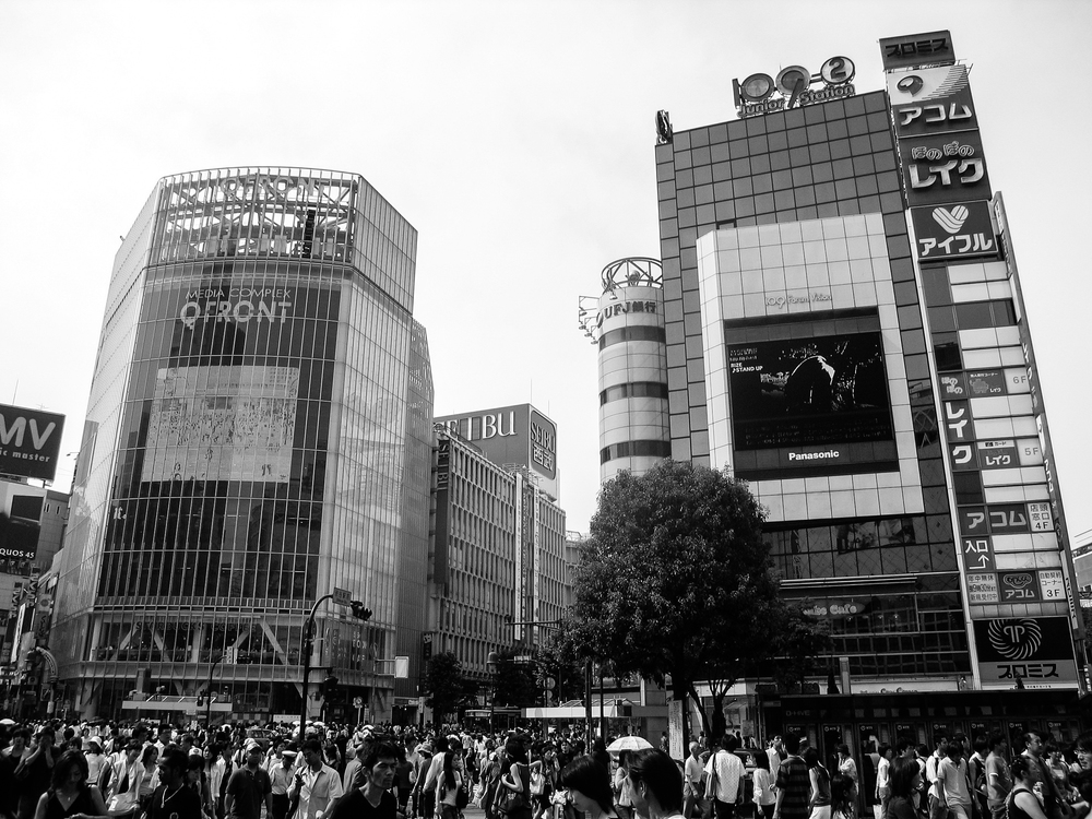 "The world's busiest intersection, located in Shibuya, Tokyo, featured in the film ""Lost in Translation."""