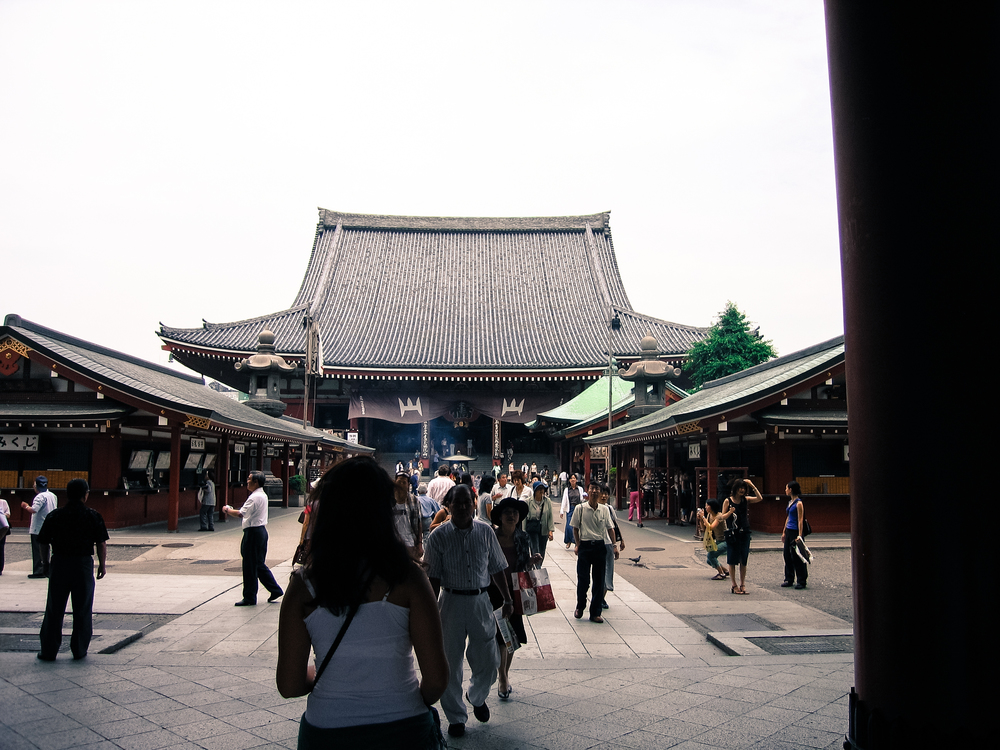 Passing through the main gate of Sensō-ji in Asakusa, Tokyo.