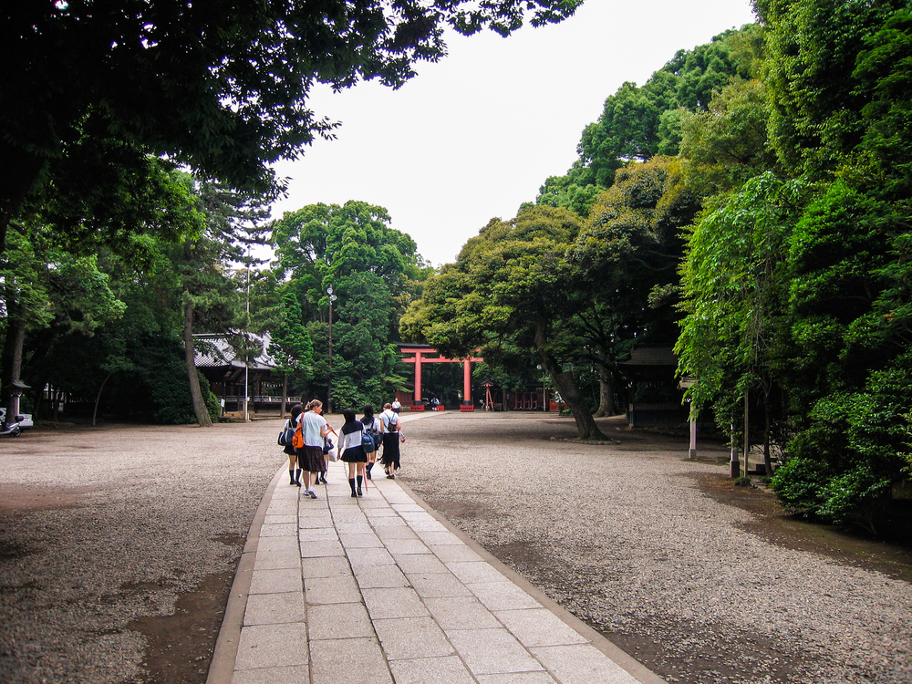 The sprawling grounds of the beautiful and serene 2,400 year-old Hikawa Shinto shrine in Saitama, Japan.