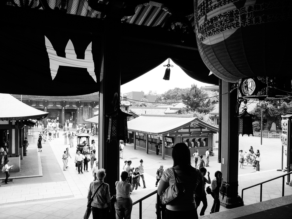 Looking out at the main grounds of Sensō-ji in Asakusa, Tokyo, from the grand main prayer hall.
