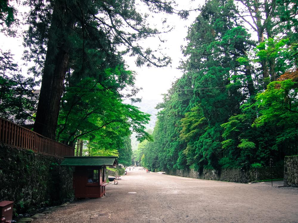 Looking down the wide road that leads up to the ornate Nikkō Tōshō-gū shrine on Mt.Nikko dedicated to Tokugawa Ieyasu, the founder of the legendary Tokugawa Shogunate.