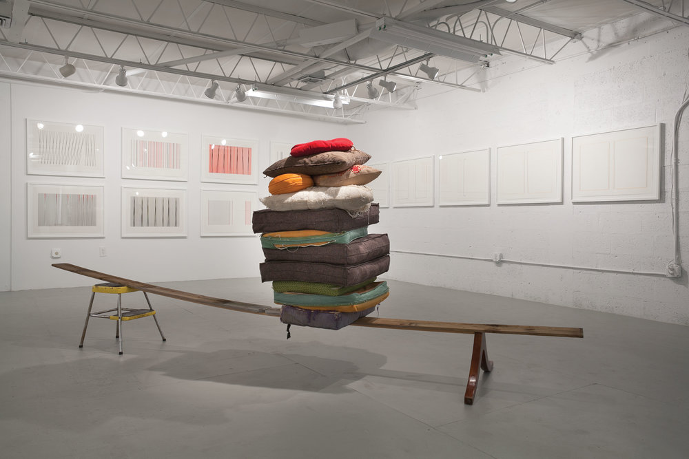 $2000 - Wisdom forced upon us. Found objects, wood, all the cushions from my studio. Approx. 6' x 14' x 3'was $4000