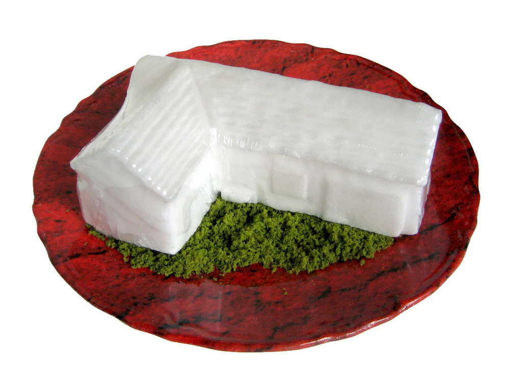 $400 - House grass carpet plate. Found ceramic plate with carpet decal, fake grass, salt block. Plate is 9