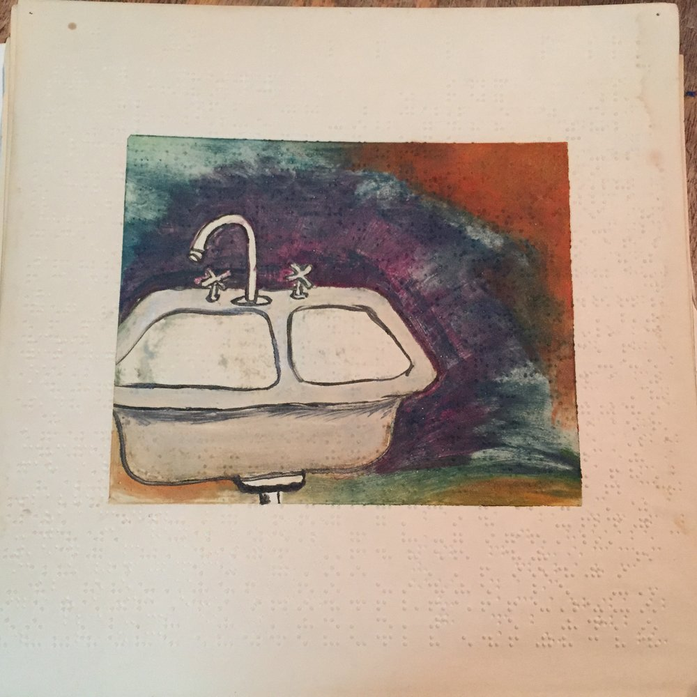 $100 - Everyday things outfitted proper just as I remember (sink). Monoprint on Braille paper. 12