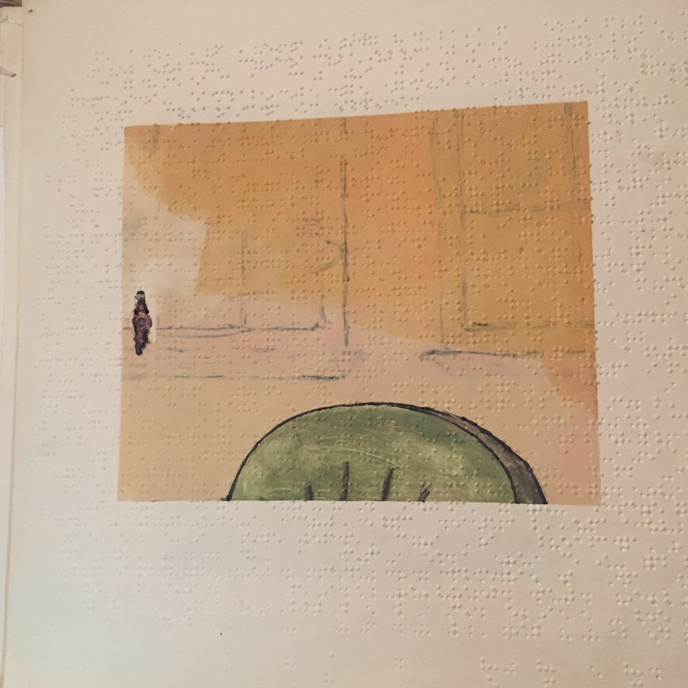 $100 - Everyday things outfitted proper just as I remember (doorbell). Monoprint on Braille paper. 12