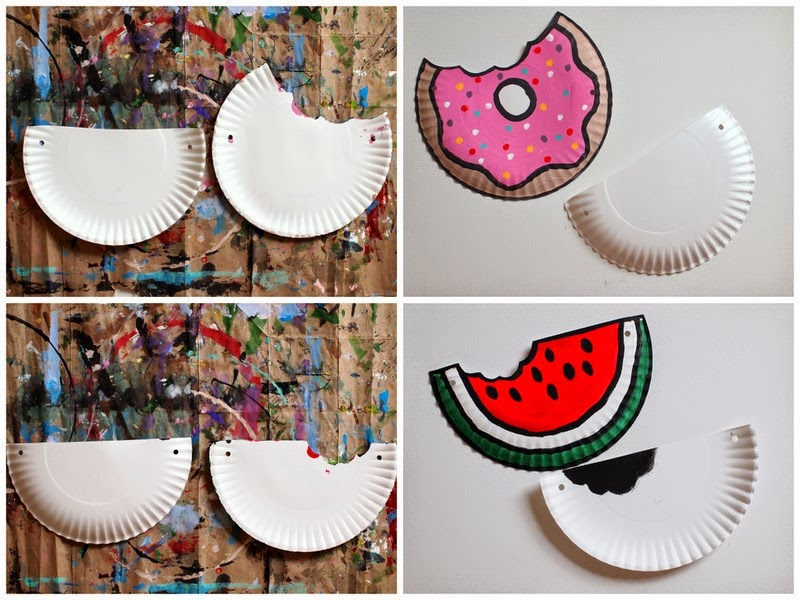 After cutting the paper plates, I placed them one on top of the other and used a   hole punch   to punch matching sets of holes in each plate.   Then, I painted the plates to look like a watermelon and doughnut. Once the paint dried, I   stapled   the plates together and used some   yarn   to make a little strap.  (I also placed some   tape   on the ends of the yarn to help it slide through the tiny holes.)     Tada!  And now I have two  DIY Food Paper Plate Purses :