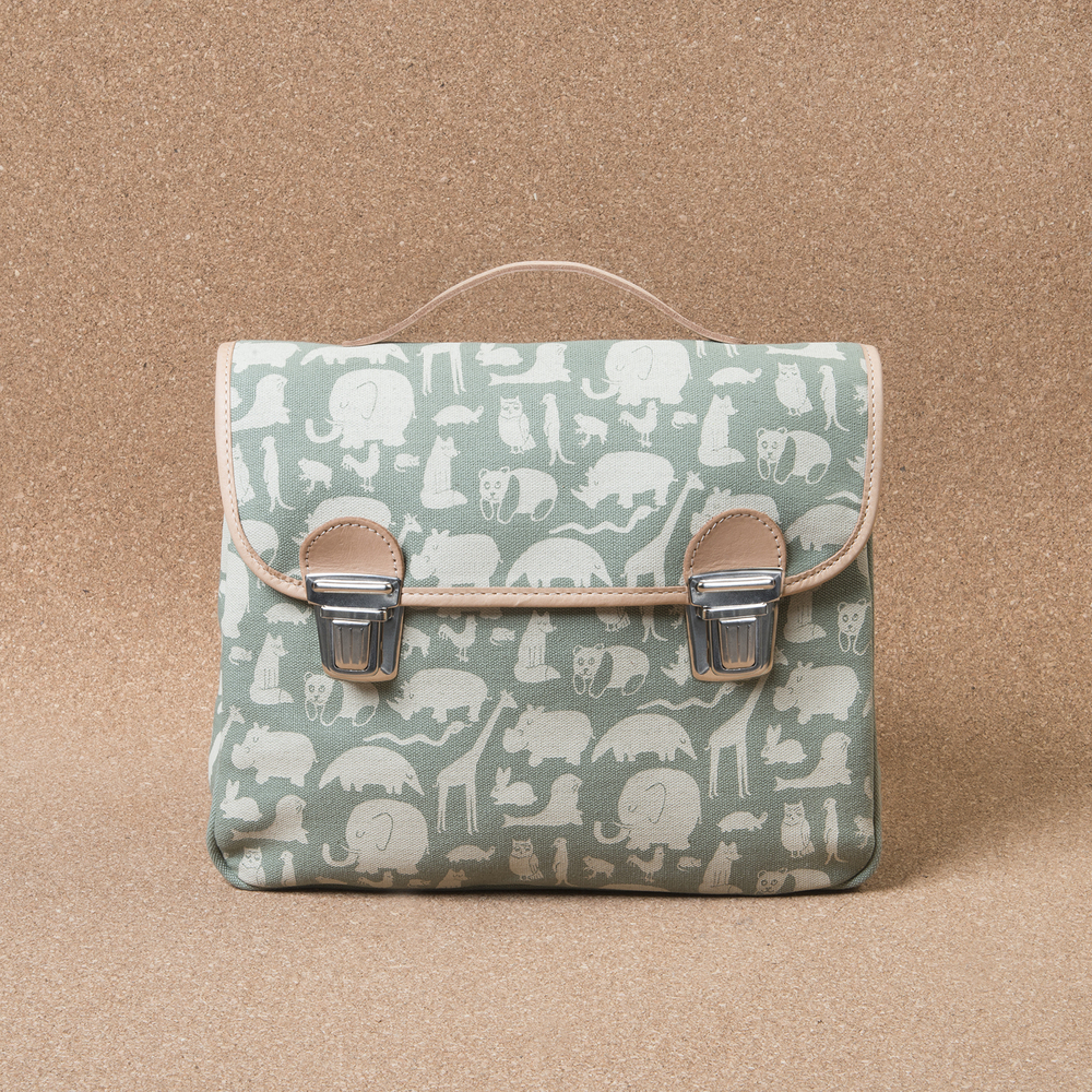 Satchel made of animal printed canvas with leather detailing.
