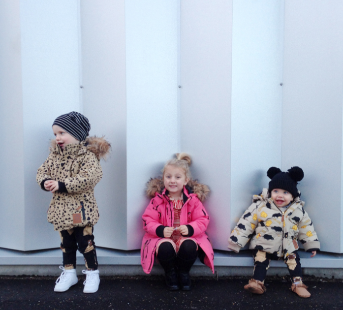 Jerome: Mini Rodini Beige Expedition Siberia jacket | Mini Rodini Leggings Lilou: Mini Rodini Pink Penguin parka | Stripe Mini Rodini dress Remi: Mini Rodini Beige Mouse jacket |  Mini Rodini leggings | Kid + Kind tee | moccs | Mini Rodini hat