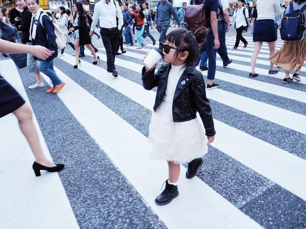 SHIBUYA CROSSING:Dress: H&M Studio Collection, Jacket:  Eve JNR , Boots: Dr. Martens