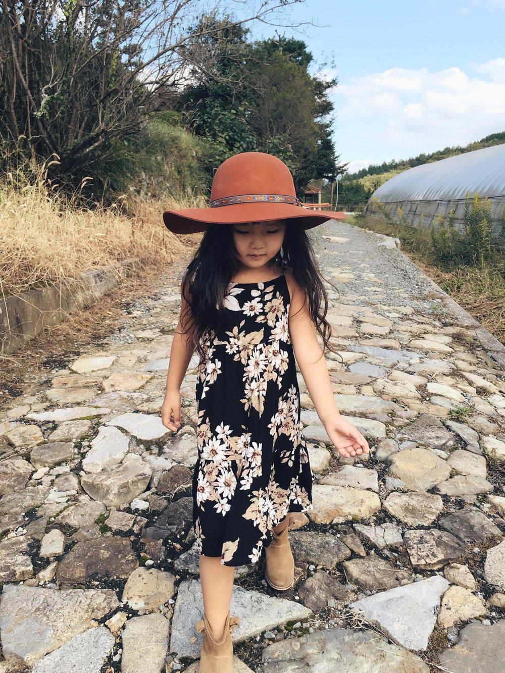 Visited Grandma in the Countryside, HIROSHIMA:Hat: Fallen Broken Street Kids, Dress: Harlow Jade, Boots: Zara Kids