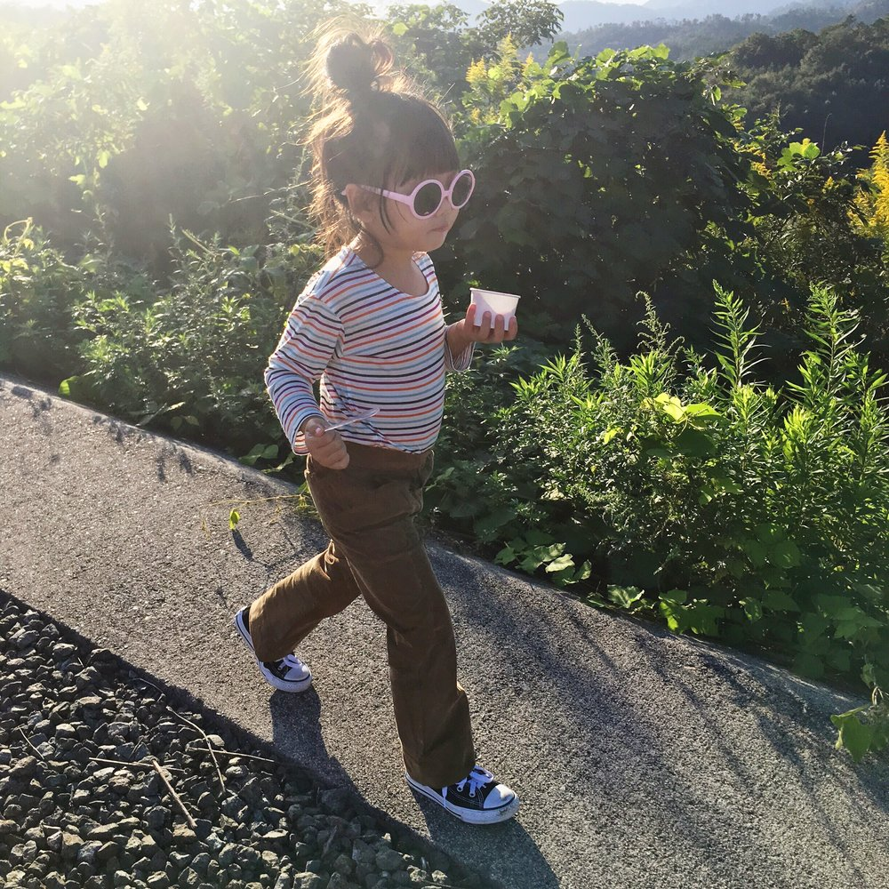 After a day at  FUKUTOMI PARK  in Hiroshima (omg this park is AMAZINGGGGG) :Shirt + Cordoroy pants:  Ultraviolet Kids , Sunnies:  Janie + Jack , Sneakers: Converse