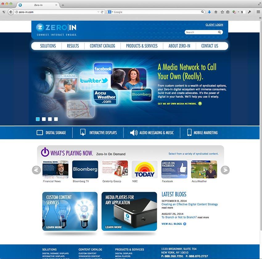 Zero In Media website design