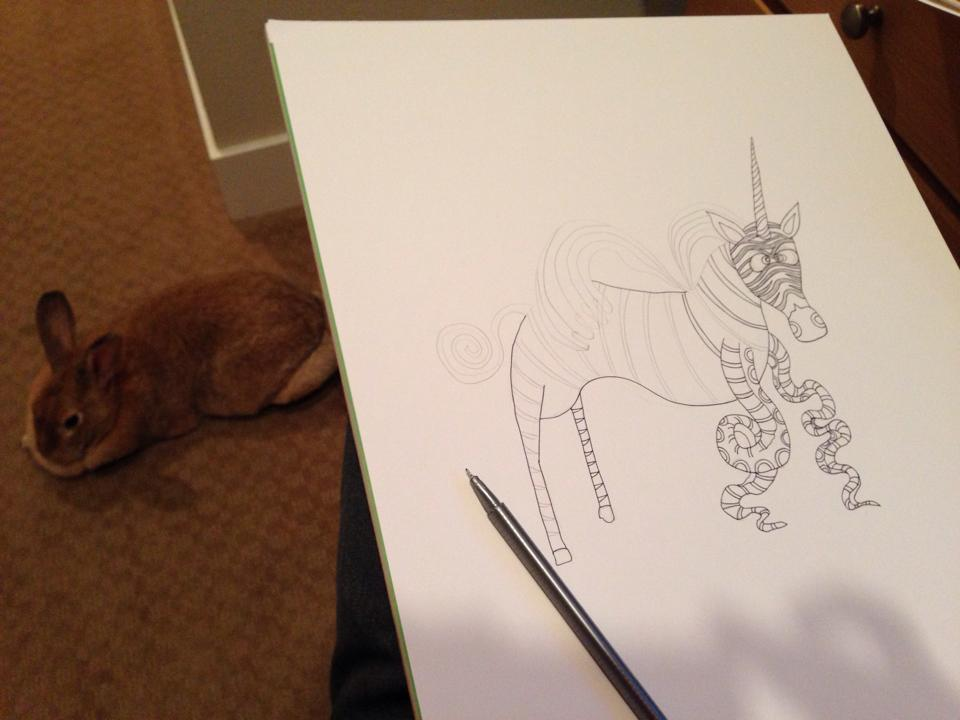 Drawing while my rabbit Buttercup hangs out. She likes to run up and down the stairs and then hang out by my feet.