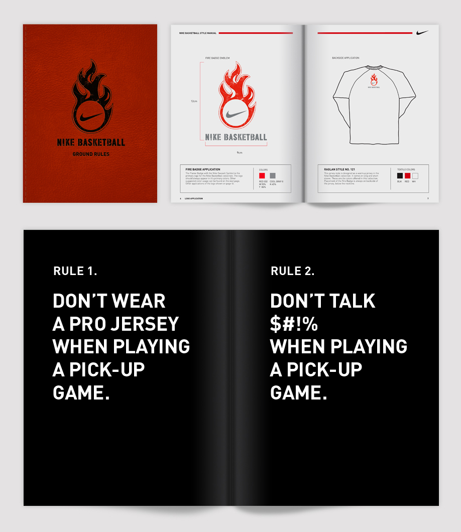 Printed style guide and look book designed for guidelines and specification to retail store managers. The introduction sets up the ground rules for playing pick-up basketball.