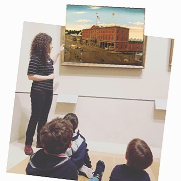 On a recent tour at the Metropolitan Museum with @zplayschool we looked at how artists show us exciting places.  This is a painting of the 3rd ave railroad depot. Yup, that's 3rd ave and 66th street NYC in 1859!  #kidslovemuseums #nyckids #artkids
