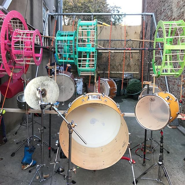 Gowanus Open Studios today and tomorrow! This swing-set-drum-kit by Dave Ford on 3rd and Hoyt is a must stop!!