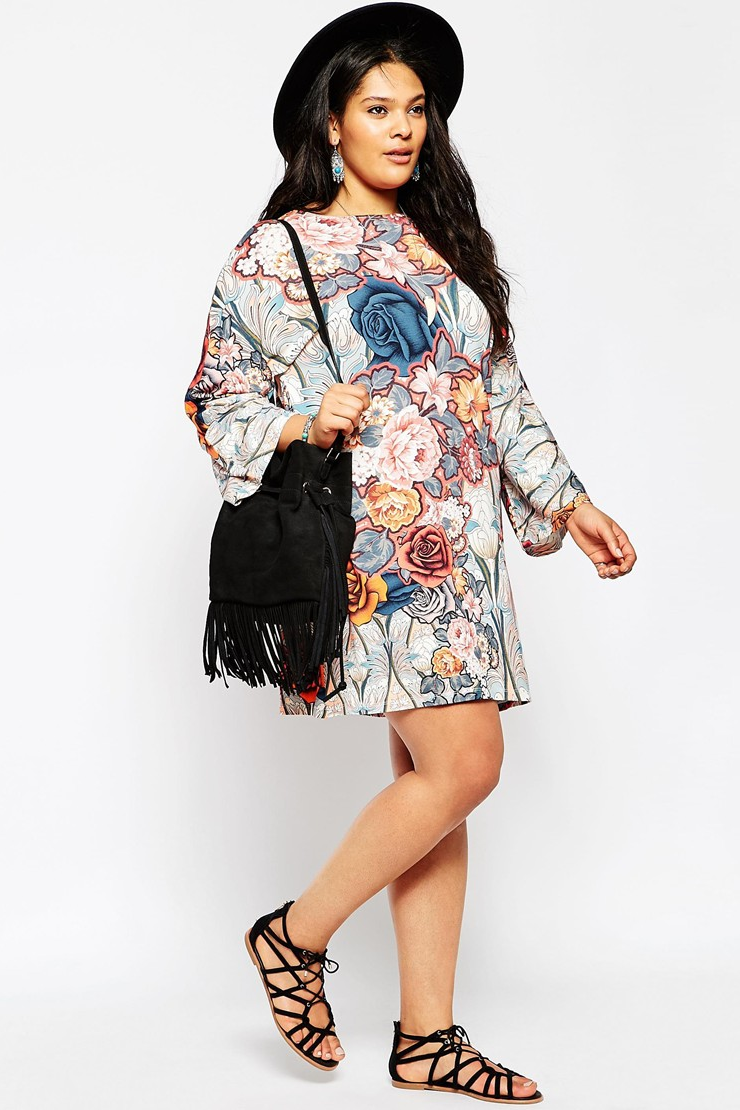 ASOS CURVE           SWING DRESS WITH KIMONO SLEEVE