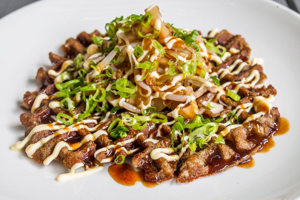 Ivan Ramen scrapple waffle, photo by Nick Solares