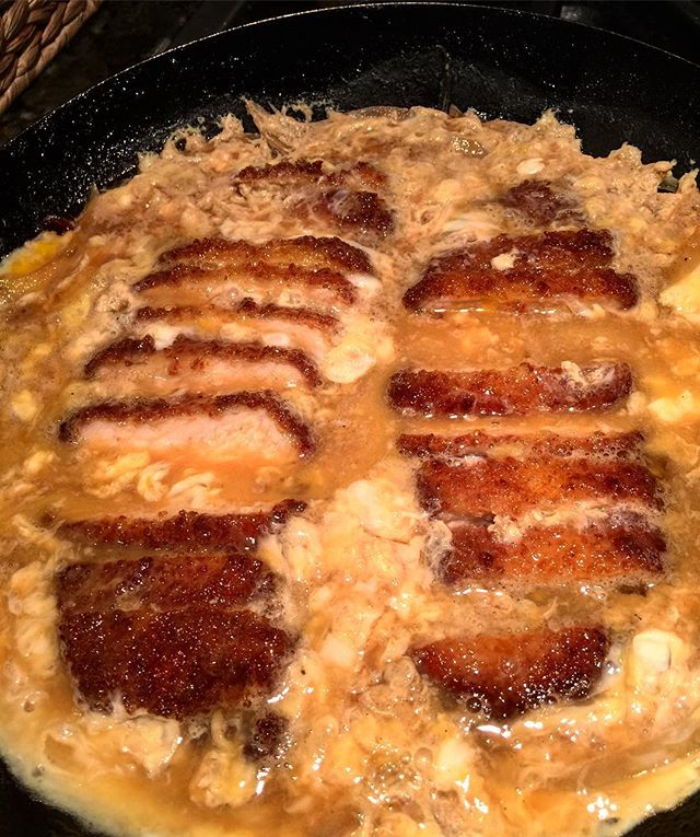 Home cooking. Tonkatsu swimming in egg and dashi, family style Katsudon.  Righteous!!