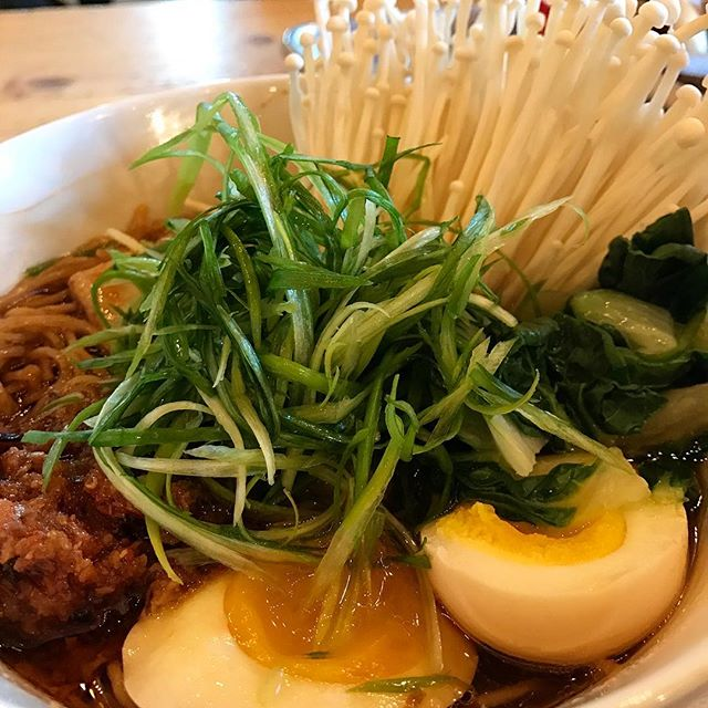 Shoyu ramen heavily loaded!  Dreary weather sunny food, come in and stay awhile.