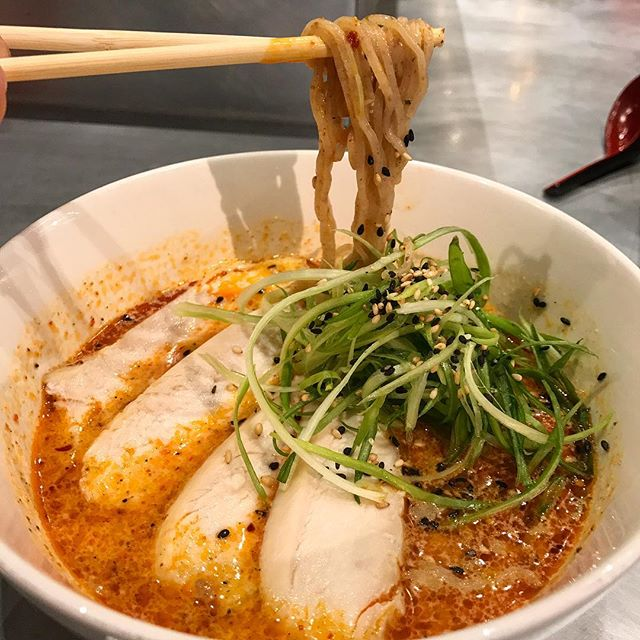 R&D!  Coming soon, Spicy Chicken Sesame Noodle (Tantan Men). Really nice, all chicken for the pork shy folks but no compromises!