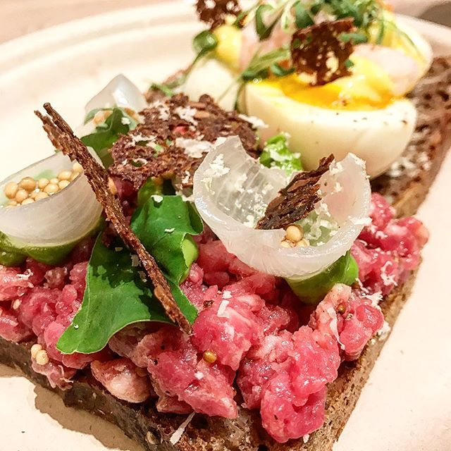 Smorrebrod at the Nordic food hall. Super fresh and delicious for $8 each which felt like a good deal. Steak tartare and eggs and Shrimp, great snack in the middle of a train station! @agernrestaurant