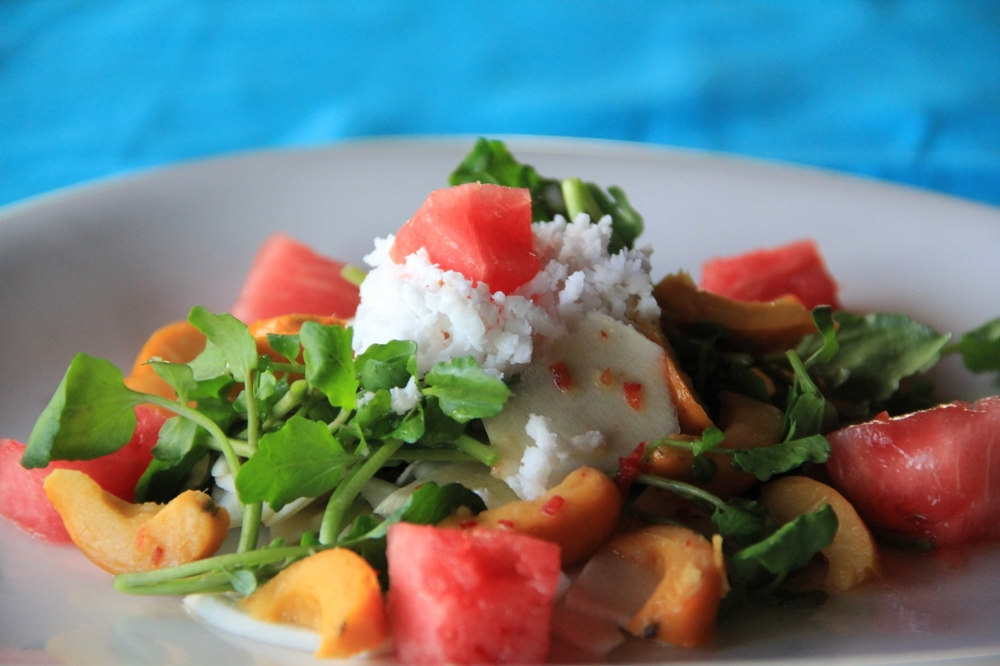 9-3-15 Hearts of palm, baby watercress, watermelon and peach palm-fruit salad