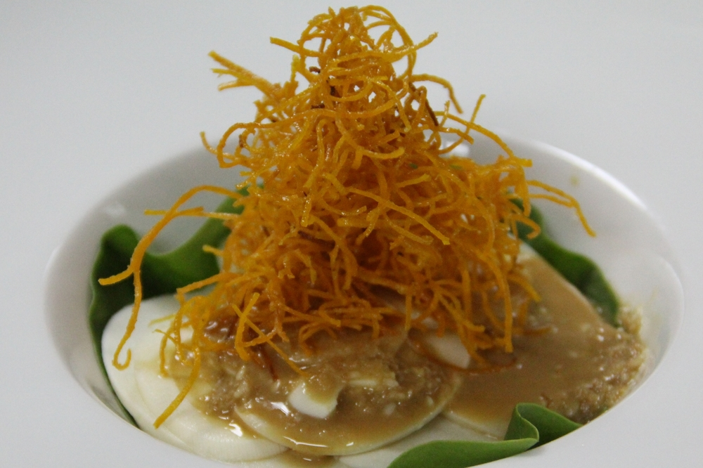 Hearts of palm salad with orange kumala and ginger miso dressing