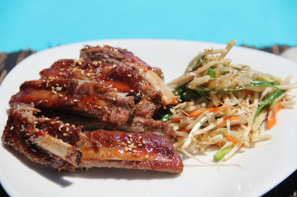 Guava glazed pork ribs with Asian slaw