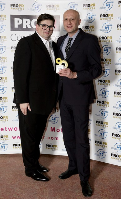 Danijel Koletić, President of the Organizing board and Galin Borodinov at the PROPR Gala Ceremony