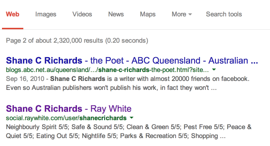 Local Ray White Agent Shane Richards is appearing at the top of page 2 on Google due to his ratings and reviews.