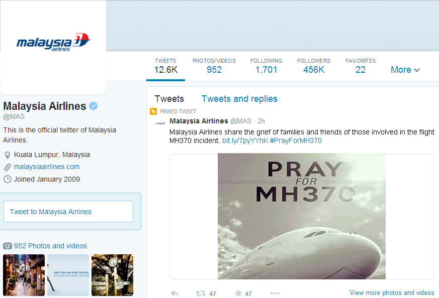 Malaysia Airlines MH370 Crisis management example