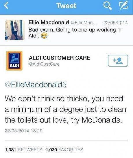 Clever humour used in a social media response from ALDI customer care's twitter team.