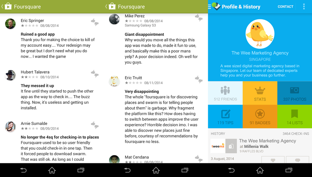 (Left): Largely negative foursquare app reviews (Right): Foursquare app mobile user interface