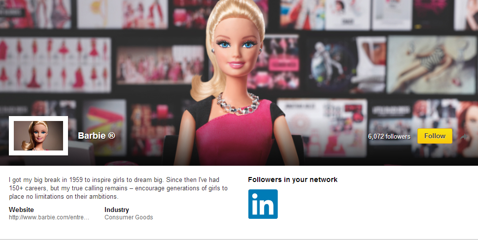 "Mattel's ""Entrepreneur Barbie"" page on LinkedIn"