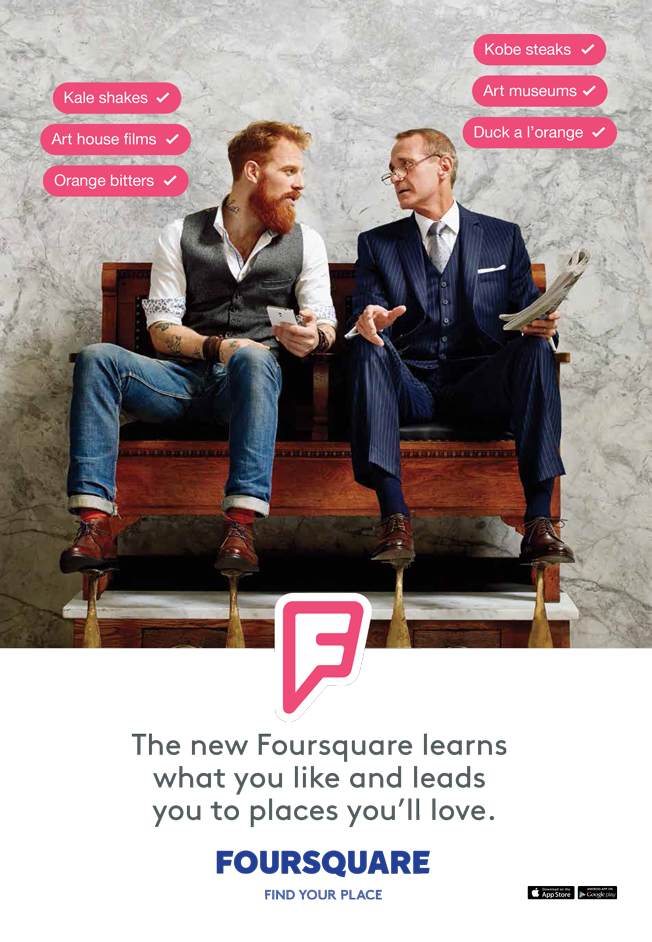 Foursquare branding relies on stereotypes for that mass market appeal.
