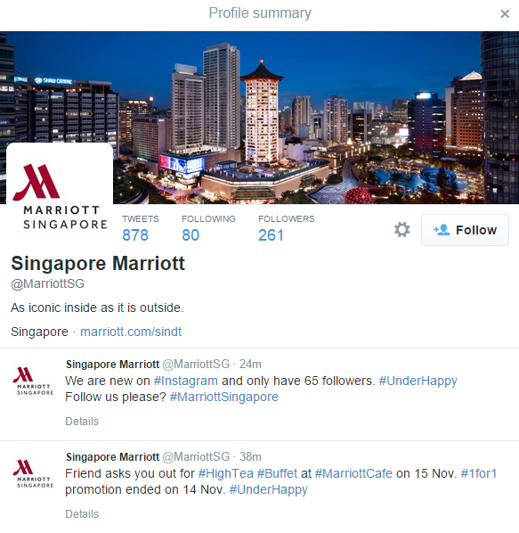 Marriott Hotel Singapore's Twitter Profile