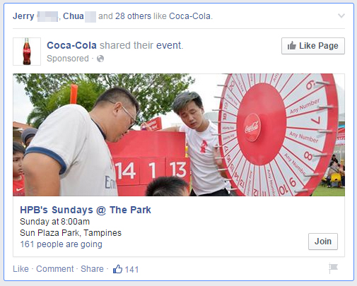 A sponsored advertisement on Facebook by Coca-Cola. Facebook event:  HPB's Sunday @ The Park