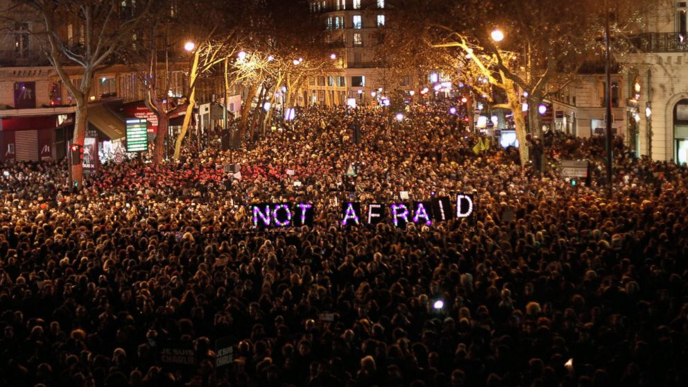 #JeSuisCharlie Mass Protest in Paris after Gunmen shot and killed 12 workers from local publishing house Charlie Hebdo. Photo: Associated Press