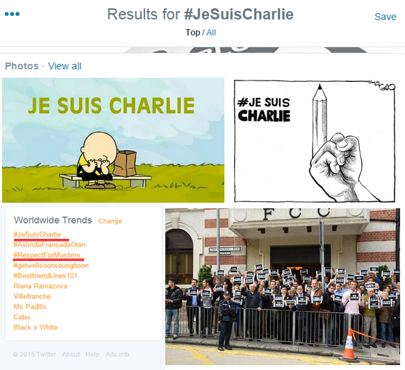 Snapshot from Twitter about the worldwide trending topics #JeSuisCharlie and #RespectForMuslims