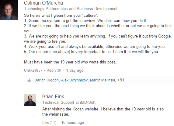 "Some of the scathing comments from disgruntled LinkedIn professionals on Ruslan Kogan's ""Don't Hire Hotmail Users and Other Tips to Save Your Company Culture""."